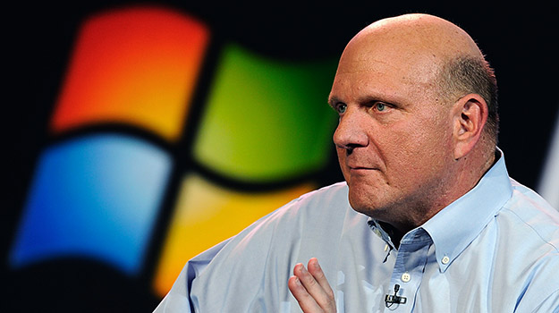 LAS VEGAS, NV - JANUARY 09:  Microsoft CEO Steve Ballmer delivers a keynote address at the 2012 International Consumer Electronics Show at the Las Vegas Convention Center January 9, 2012 in Las Vegas, Nevada. CES, the world's largest annual consumer technology trade show, runs through January 13 and is expected to feature 2,700 exhibitors showing off their latest products and services to about 140,000 attendees.  (Photo by Kevork Djansezian/Getty Images)